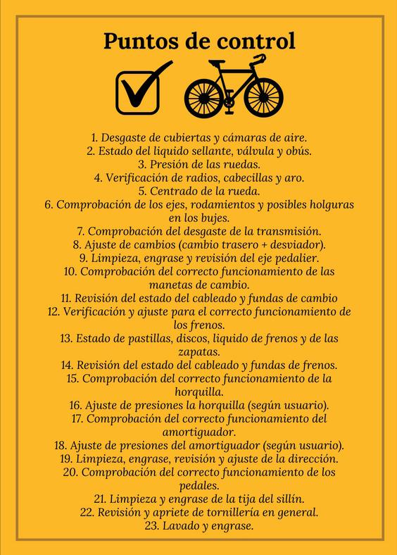 Taller para bicicletas Puntos de control